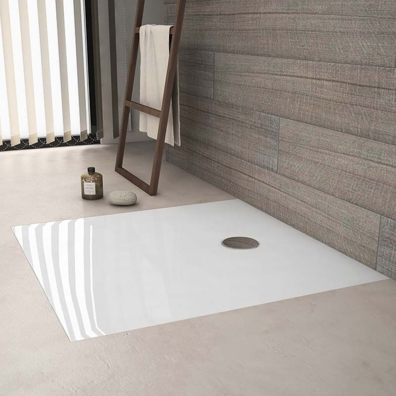Receveur de douche a encastrer arone carr blanc brillant for Bac pour douche italienne