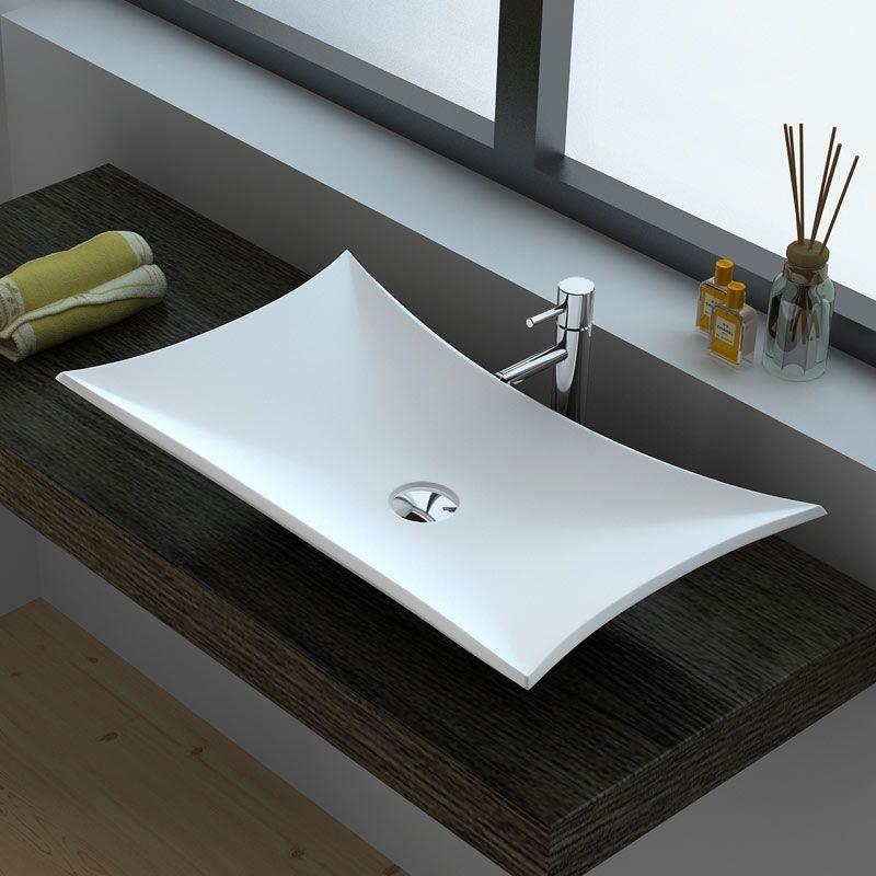 Vasque poser en r sine 64x38 cm min ral - Meuble pour vasque a poser ikea ...