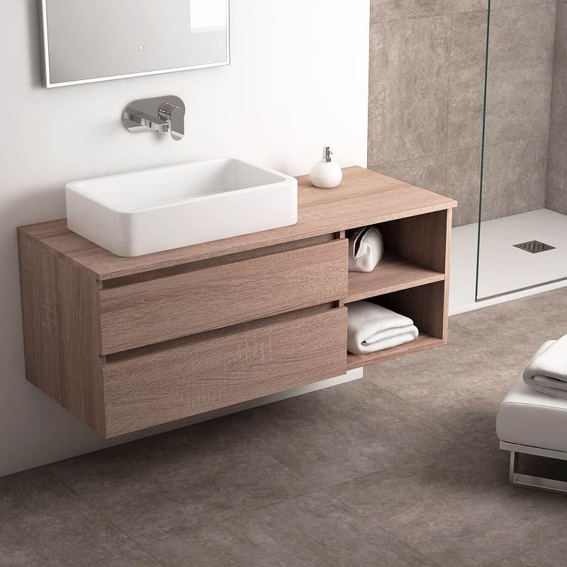 Meuble salle de bain ch ne fonc 120 cm 2 tiroirs terra - Meuble salle de bain bois fonce ...