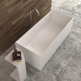 Vasque poser en r sine 64x38 cm min ral for Baignoire faible largeur