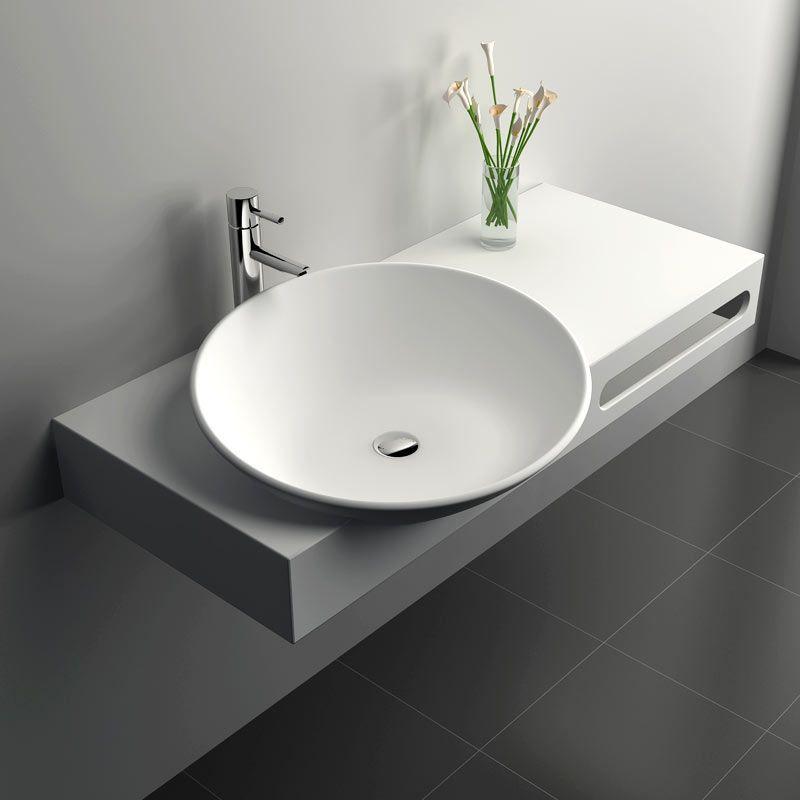 Plan vasque suspendu 100x54 cm, matière composite mineral