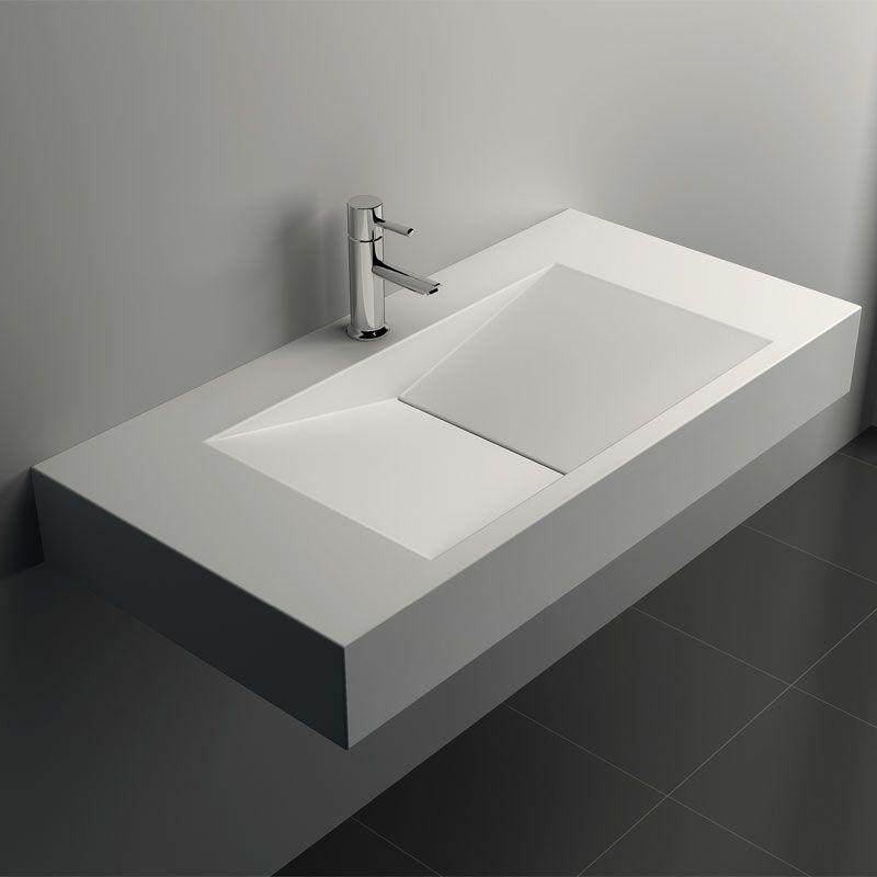 Lavabo suspendu, matière composite minéral, 90x45 cm