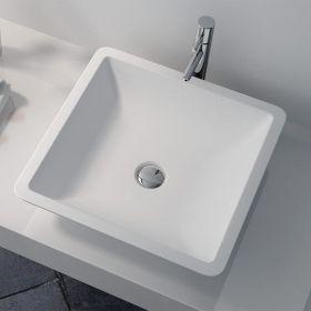 Vasque à poser, matière composite mineral, 42.5x42.5x10.5 cm