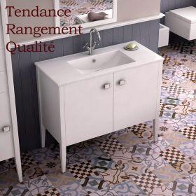 meuble salle de bain blanc 120 cm 2 portes vasque c ramique touquet. Black Bedroom Furniture Sets. Home Design Ideas