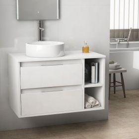 Meuble salle de bain ch ne fonc 120 cm 2 tiroirs terra for Meuble de salle de bain gifi