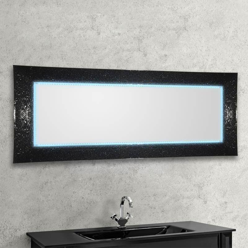 Miroir Audrey 168x73 cm , noir éclairage Led