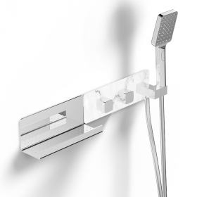 Mitigeur thermostatique douche encastré 3 voies, finition marbre blanc, Infinity Elements