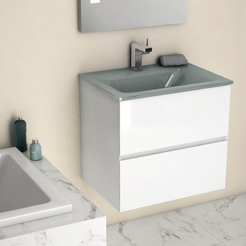 meuble salle de bain 61 cm blanc brillant vasque verre gris kyoto l. Black Bedroom Furniture Sets. Home Design Ideas