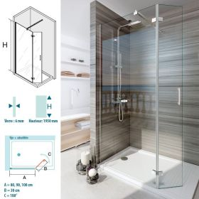 Paroi de douche fixe + volet, 80 et 90 cm Turin