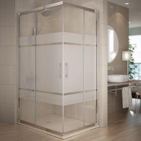 Cabine de douche coulissante, 80 à 140 cm, Serigraphie, Rhin