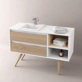 Meuble salle de bain 108 149 cm 2 tiroirs grid for Meuble de salle de bain pour vasque a poser