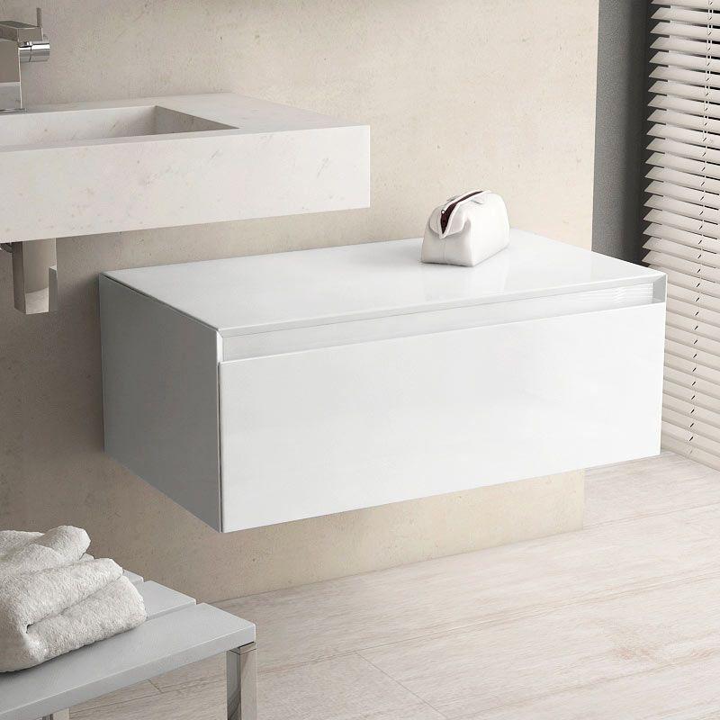 Meuble de rangement 80 cm, blanc brillant, Aragon
