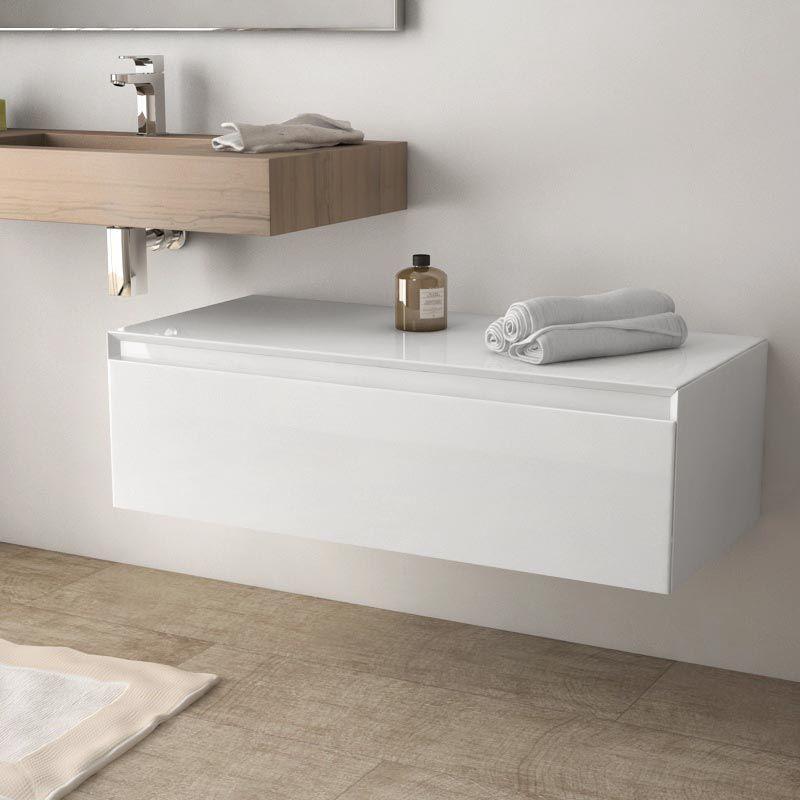 Meuble de rangement 100 cm, blanc brillant, Aragon