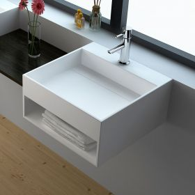 Lave mains suspendu 50x50 cm, matière composite, Mineral