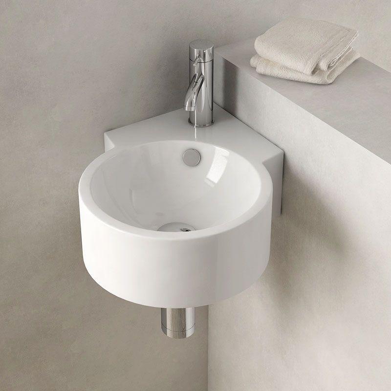 Lave-mains d'angle suspendu 30x44 cm, céramique, Pure