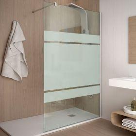 Paroi de douche fixe 80 à 120 cm, verre 8 mm, serigraphié, Rimini