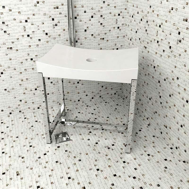 Tabouret de douche vito gris for Tabouret salle de bain