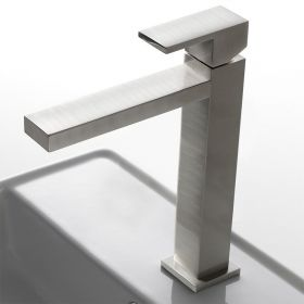 """Robinet mitigeur lavabo surélevé carré nickel brossé, """"Q"""" bec 252 mm"""