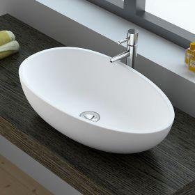 Vasque à poser ovale, matière composite mineral, 60x35x16 cm