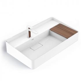 Lavabo vasque en résine minérale 80cm, aspect bois, Infinity Elements