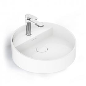 Vasque à poser ronde en céramique blanche 46cm, Infinity Flow