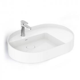 Vasque à poser ovale en céramique blanche 69 x 46cm, Infinity Flow