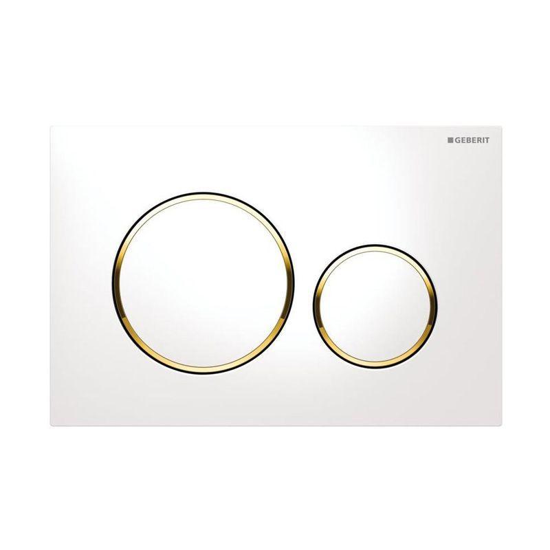 Plaque de déclenchement Geberit Sigma 20 Blanc, bouton blanc, cerclé doré