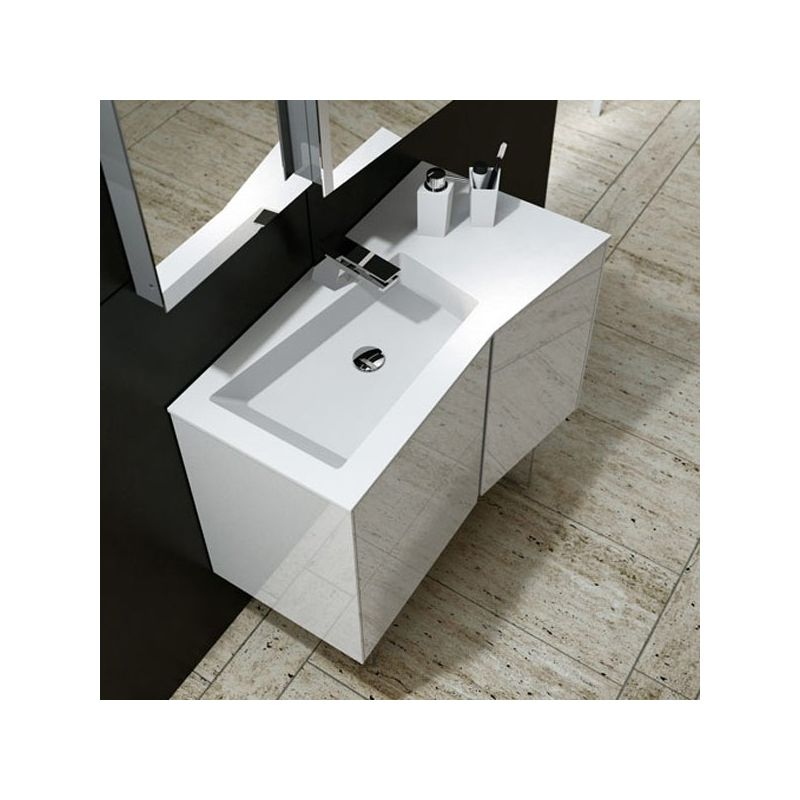 Meuble salle de bain blanc 90 cm 2 tiroirs 1 porte plan for Panneau fibre de verre salle de bain