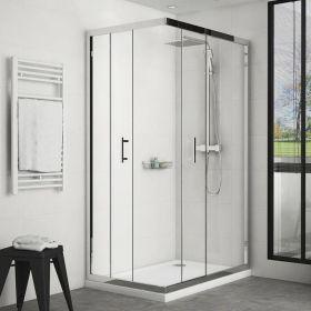 Cabine de douche coulissante 120x80 cm accès d'angle
