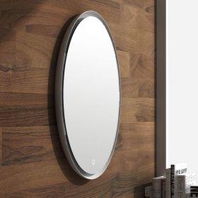 Miroir Led minéral , diamètre 70 cm, matière composite minérale, Plate