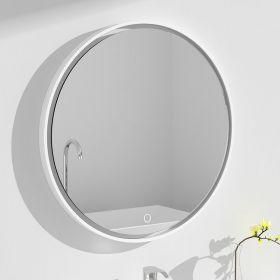 Miroir Led minéral , diamètre 70 cm, matière composite minérale, Rond Plat