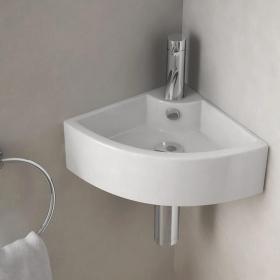 Lave-mains d'angle suspendu 44x31 cm, céramique, Pure