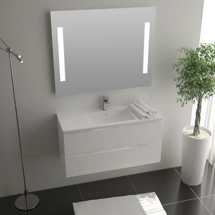 Pack meuble milo 100x40cm miroir mitigeur for Meuble de salle de bain 40 cm de profondeur