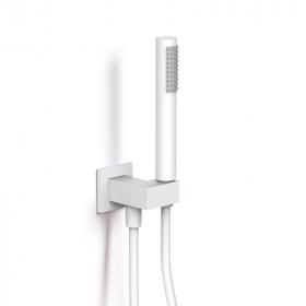 Set de douche blanc avec douchette, flexible et prise d'eau - Infinity