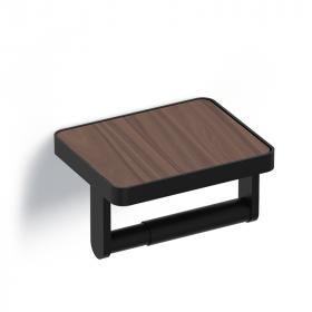 Porte-papier avec couvercle bois, finition noir mat, Infinity Elements