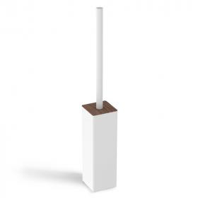 Porte-balayette à poser en laiton, finition blanc, avec couvercle bois, Infinity Elements