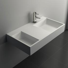 Lavabo suspendu 80 x 45 cm, matière composite, Mineral