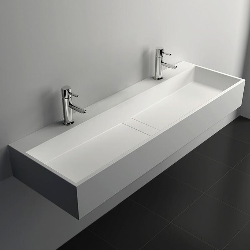 Plan vasque salle de bain suspendu Mineral 120,5x40 cm, matière composite