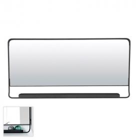 Miroir salle de bain horizontal avec cadre métal et tablette noir 40x80 cm, Chic