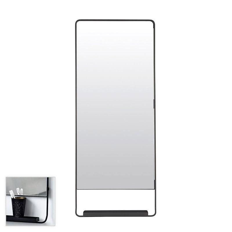Miroir salle de bain vertical 110x45 cm, avec cadre métal et tablette noir, Chic