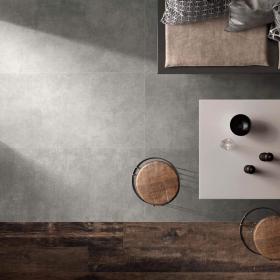 Carrelage sol et mur gris effet béton, 60x120 cm, Como , Niloka