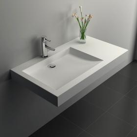 Lavabo suspendu 81 x 45,5 cm, droite ou gauche, matière composite, Mineral