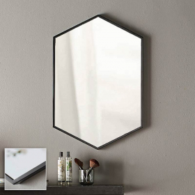 Miroir hexagonal en métal noir mat, l50xh75 cm, Hexa