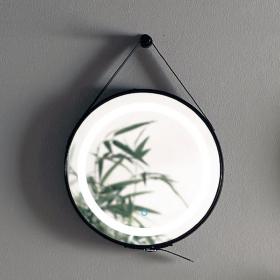 Miroir barbier, cadre cuir noir, éclairage LED, Ø50 cm, Liana