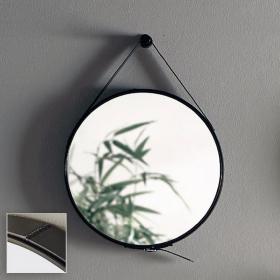 Miroir barbier en cuir noir, Ø50 cm, Liana