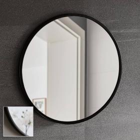 Miroir rond en métal noir mat, Ø60 cm, Frame