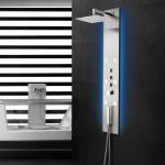 Fixplus, panneau de douche encastré hydromassant et leds, thermostatique, acier inoxydable