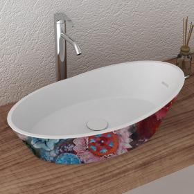 Vasque à poser décor fleurs en résine minérale, 68x38 cm, Louise