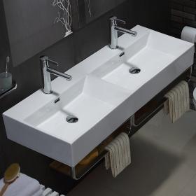 Lavabo double suspendu, avec porte-serviettes, 120x42 cm, Vera Square