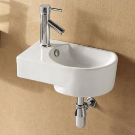 Lave-mains suspendu droite ou gauche 40,5x27 cm en céramique